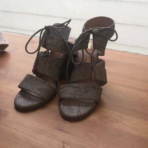 Chunky heel snakeskin sandal